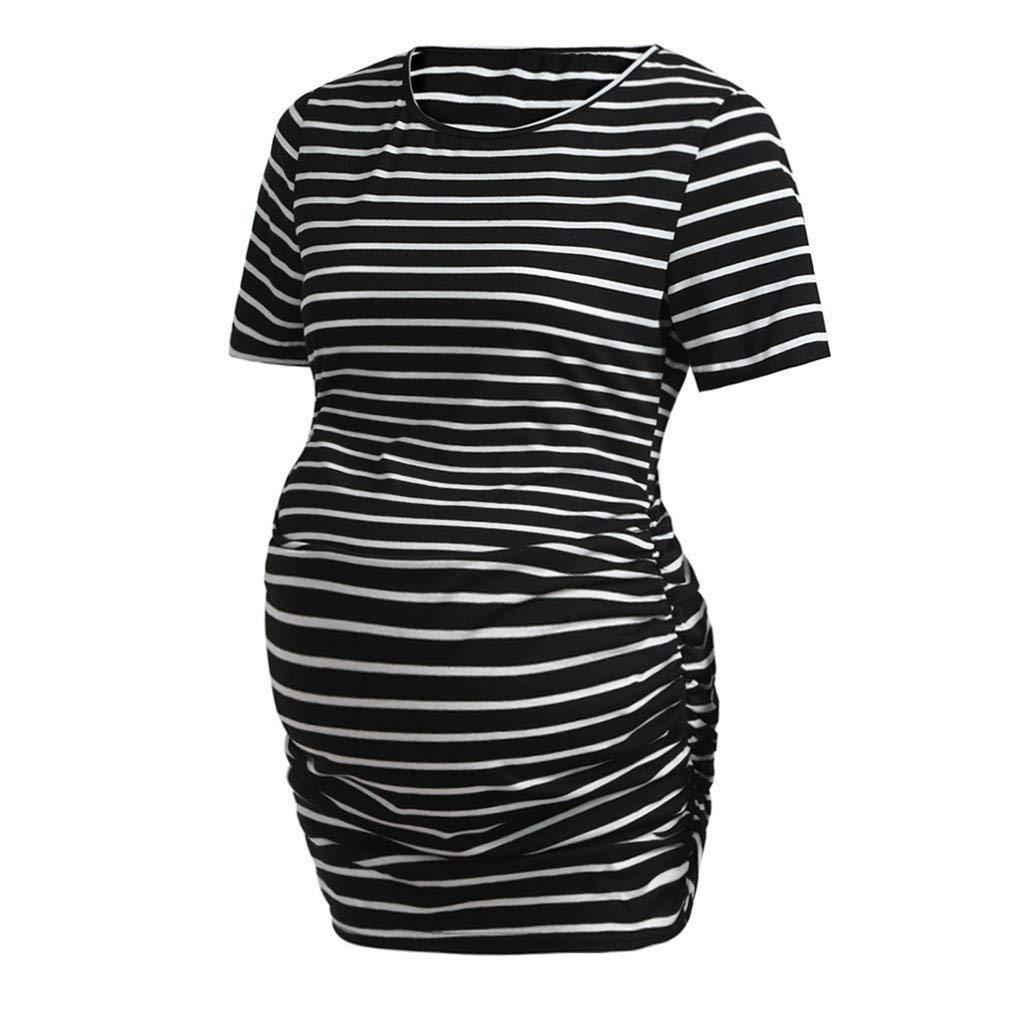 Schwanger Umstandskleid Tunika-Kleider Rundhals Sommer Damen Mutterschaft Mode