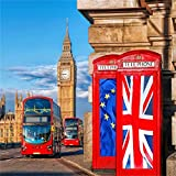 AOFOTO 8x8ft London Streetscape Backdrop Red Telephone Booth Photography Background Big Ben Double-decker Bus Adult Portrait Seamless Travel Wedding Photo Shoot Studio Props Video Drop Wallpaper Drape
