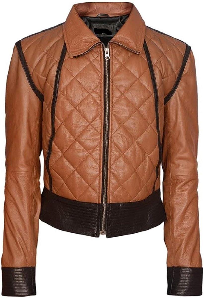 LEATHERAY Women Fashion Real Leather Motorbike Jacket Brown XS-5XL