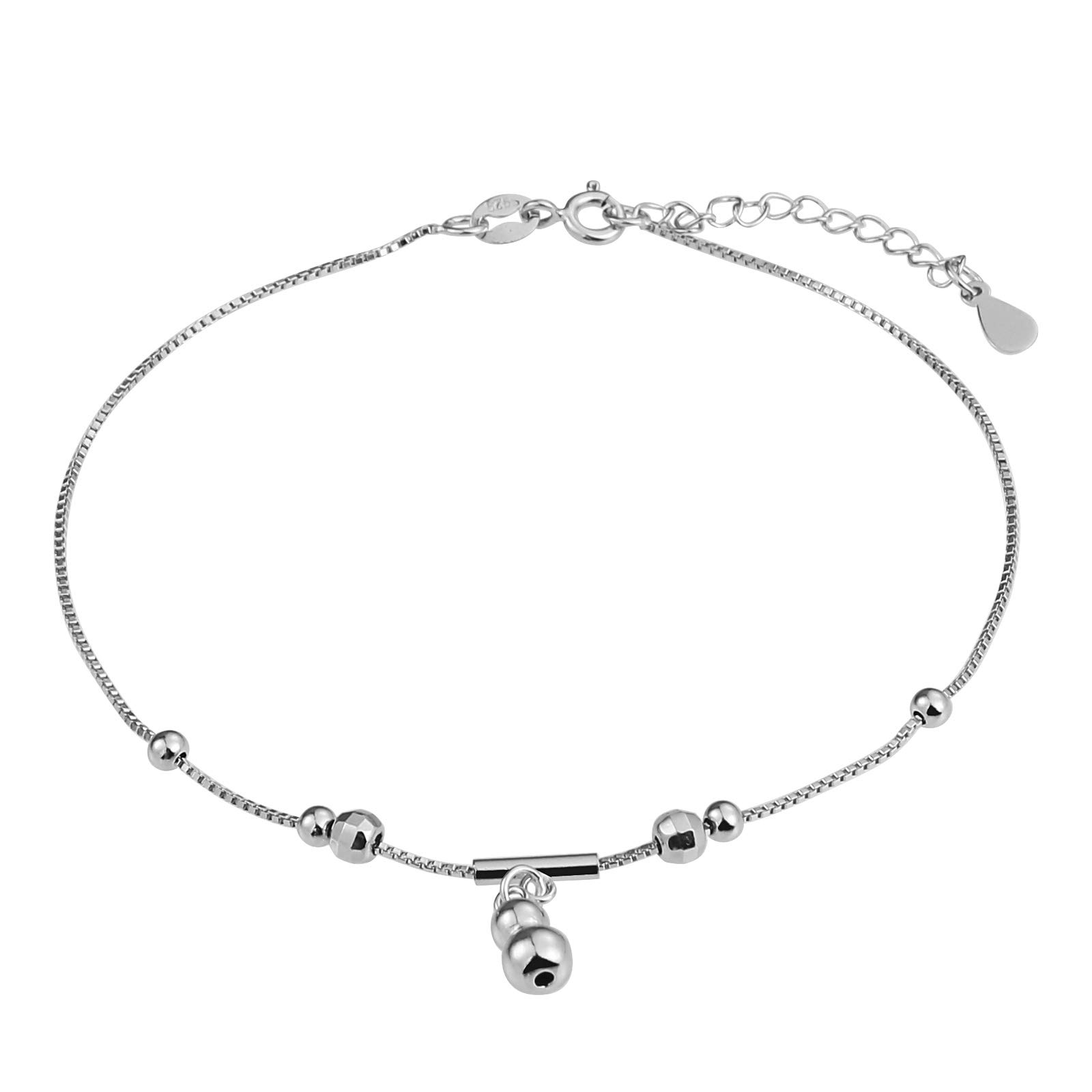 Beydodo Sterling Silver Ankle Bracelet for Girls Foot Bracelets for Women Bead Charms
