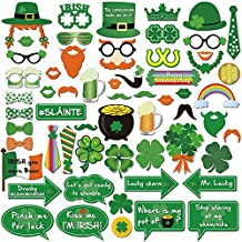 St.patrick Photo Booth(59pcs),Konsait Funny St.patricks Day Photobooth Irish Beer Photo Booth Props with Sticks Selfie Props for Kids women Man for Saint Patty's Day Party Favor Suppliers Celebrations