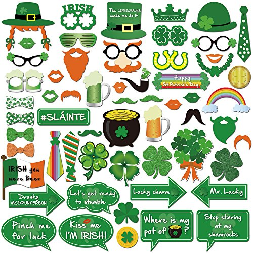 St.patrick Photo Booth(59pcs),Konsait Funny St.patricks Day Photobooth Irish Beer Photo Booth Props with Sticks Selfie Props for Kids Women Man for Saint Patty's Day Party Favor Suppliers Celebrations (Glass Decoration Table Ideas)
