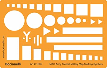 NATO Army Tactical Military Map Marking Symbols Drawing Template Stencil