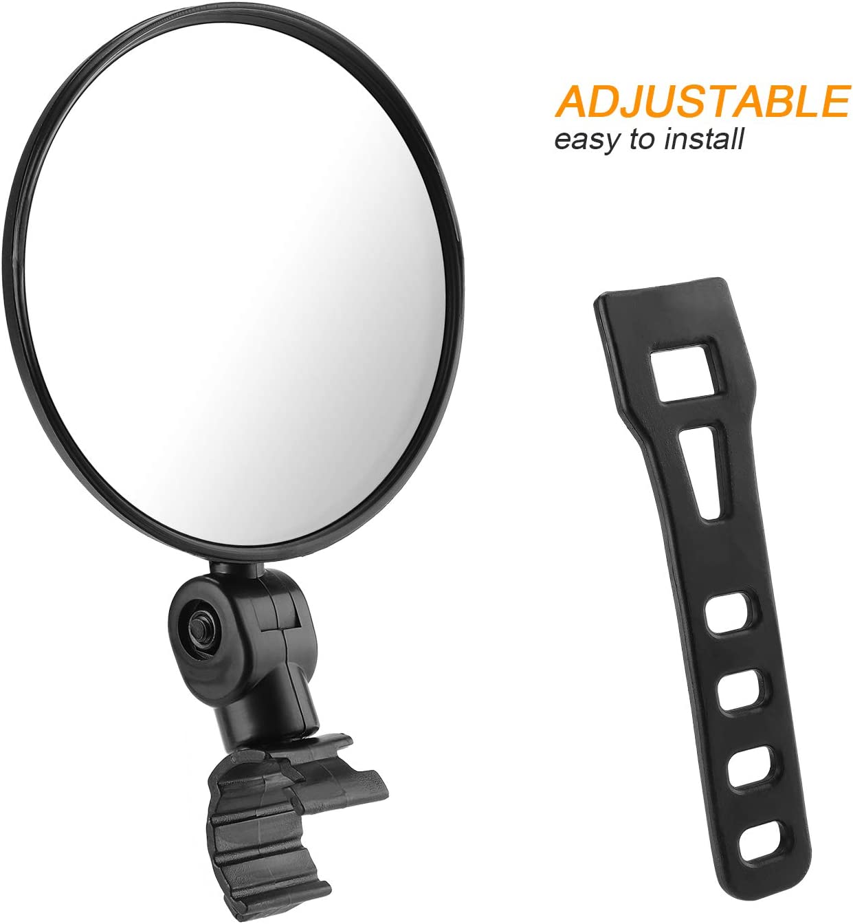 Mountain Bicycle Rear View Mirrors 360 Dregree Rotatable Adjustable Handlebar Mounted Plastic Convex Mirror for Mountain Road Bike Cycling TAGVO 2 Pack Bar End Bike Mirrors