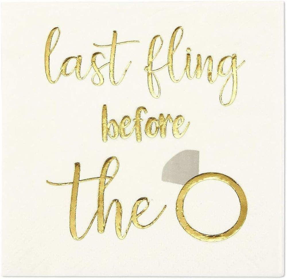 Bachelorette Ring Napkins with Gold Foil Details (5 x 5 In, White, 100 Pack)