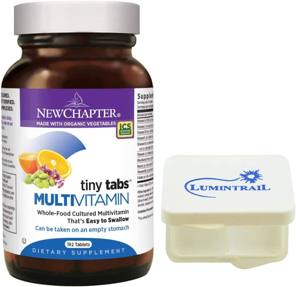 New Chapter Tiny Tabs Multivitamin with Fermented Priobiotics + Whole Foods + Vitamin D3 + B Vitamins + Organic Non-GMO Ingredients 192 ct Bundled with a Lumintrail Pill Case