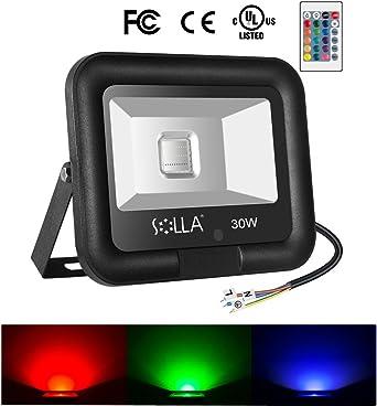 SOLLA 30W Foco LED RGB con control remoto, Proyector LED de ...