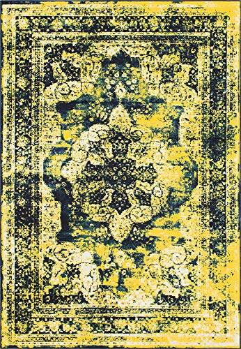 (Unique Loom 3137835 Sofia Collection Traditional Vintage Beige Area Rug, 4' x 6' Rectangle, Navy Blue)