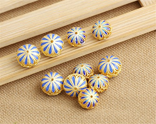 Luoyi 1pc Golden Plated Sterling Silver Enamel Beads, Hollow Flower Cloisonne Spacer Bead, Hole: 1mm (T039L) (Big)