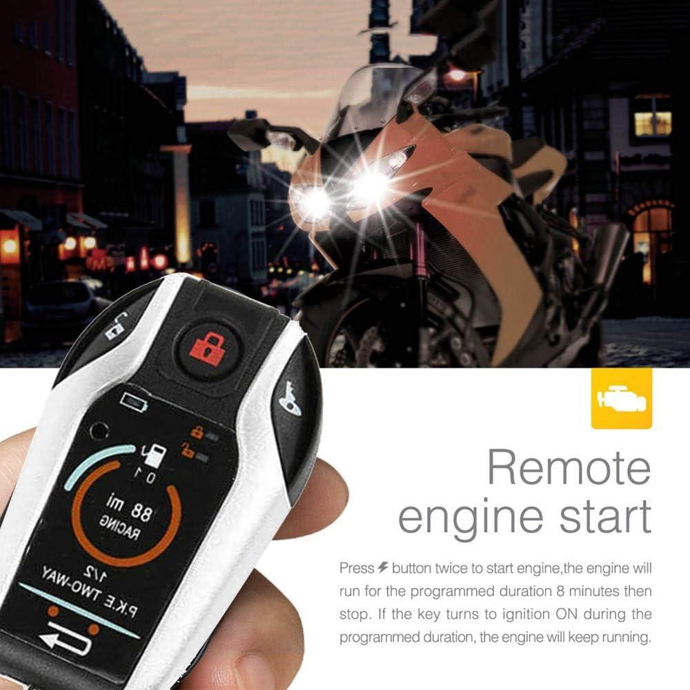 WOVELOT Alarma Bidireccional Antirrobo de Motocicleta de 12V con Bloqueo Autom/áTico para Desbloquear una Llave para Iniciar la Funci/óN Flameout para Proteger el Motor