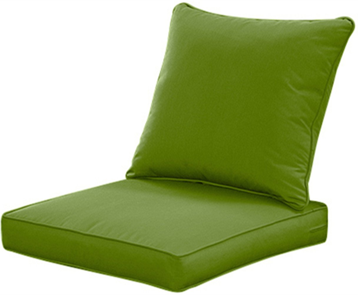 QILLOWAY Outdoor/Indoor Deep Seat Cushions for Patio Furniture, Lawn Chair Cushion 24 x 24 inch 1 Set,Green