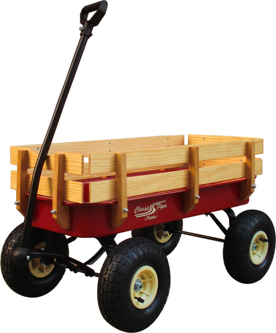 Classic Flyer by Kettler All-Terrain Air Tire Wagon with Removable Wood Sides, Youth Ages 1.5+