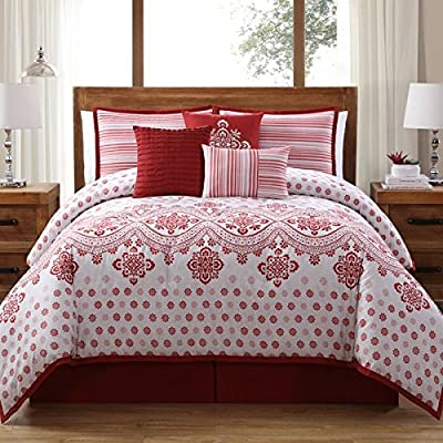 Image of 7 Piece Queen, Eye Catching Geometric Pattern Comforter Set, Traditional French Country Themed, Stunning Abstract Border Design, Classic Textural Reversible Stripe Bedding, Adorable White, Red Color Home and Kitchen