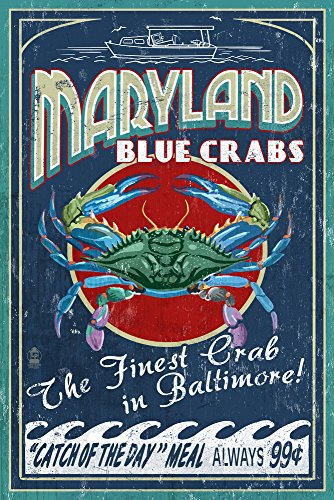 Baltimore, Maryland - Blue Crabs Vintage Sign (16x24 Giclee Gallery Print, Wall Decor Travel - Baltimore Gallery Hours The