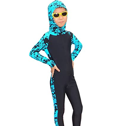 59a67556a8 Amazon.com : Kids' Lycra Surf Wetsuits Long Sleeve Hooded Diving ...