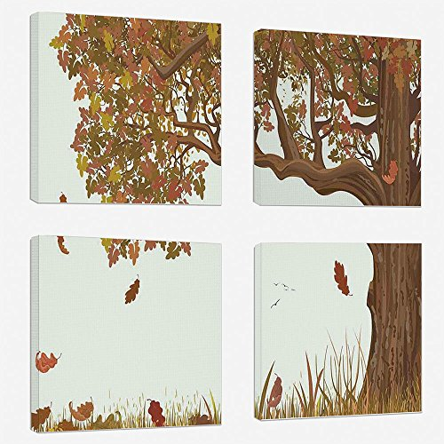 4pcs/set Modern Painting Canvas Prints Wall Art For Home Decoration Tree of Life Print On Canvas Giclee Artwork For Wall DecorAutumn Season Fall Shady Deciduous Oak Leaves in Park Countryside Artwork-