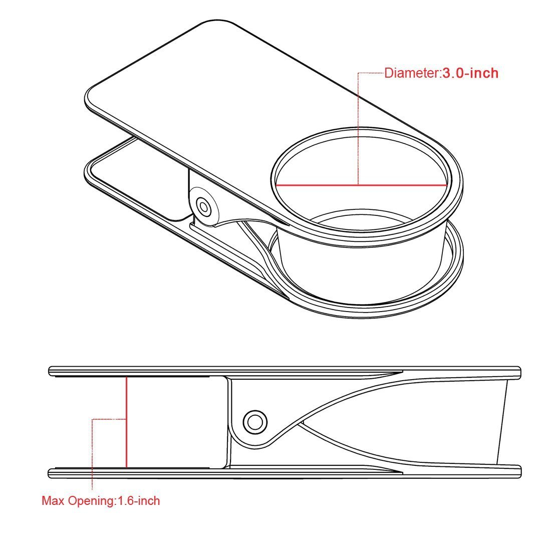 SERO Innovation Cup Clip Drink Holder - Black - Snap to tables, desks, chairs, shelves, counters. Keep your beverage, smartphone or other small item secure and out of the way. CCLIP001