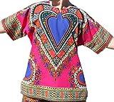 RaanPahMuang Brand Unisex Bright Heart Cotton Africa Dashiki Shirt Plain Front, Large, Pink