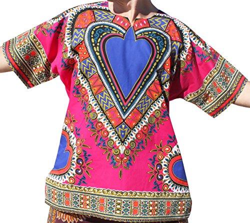 RaanPahMuang Brand Unisex Bright Heart Cotton Africa Dashiki Shirt Plain Front, Large, Pink by RaanPahMuang