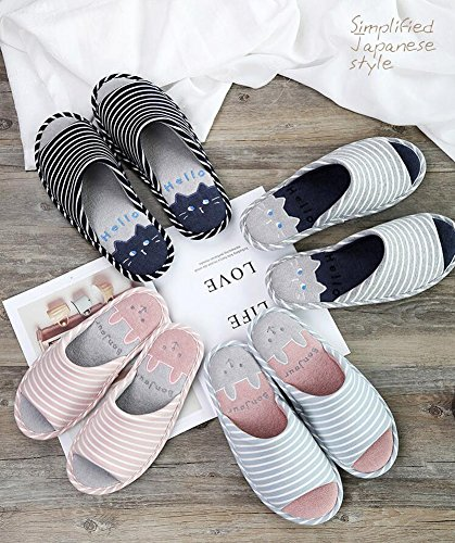 Linen Slip Cute and Women Sandals Rubber Toe Cat Sole Home Open Slippers Pattern Non Men Gray X4wqEv