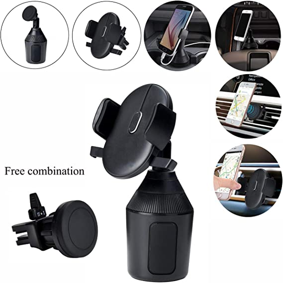 Black Round MAOBLOG Car Cup Holder Mount 2 in 1 Clip and Magnetic Free Combination 2 Pieces Mount with Air Vent Magnetic Phone Holder Bracket Stand Cradle for Samsung Galaxy S8 S7 S6 and All Phone.