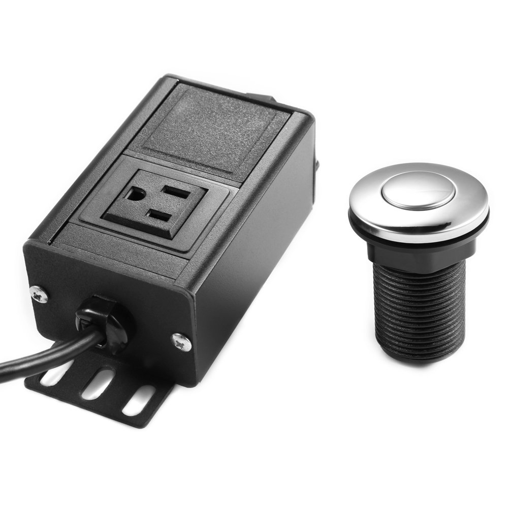 Air Switch for Garbage Disposal Dual Outlet Sink Top Air Switch Button Control Kit for Garbage Disposal(Silver)