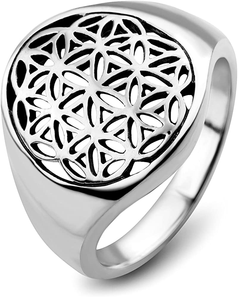 Chuvora 925 Sterling Silver Open Filigree Flower Egg Seed of Life Ancient Symbol Round Band Ring