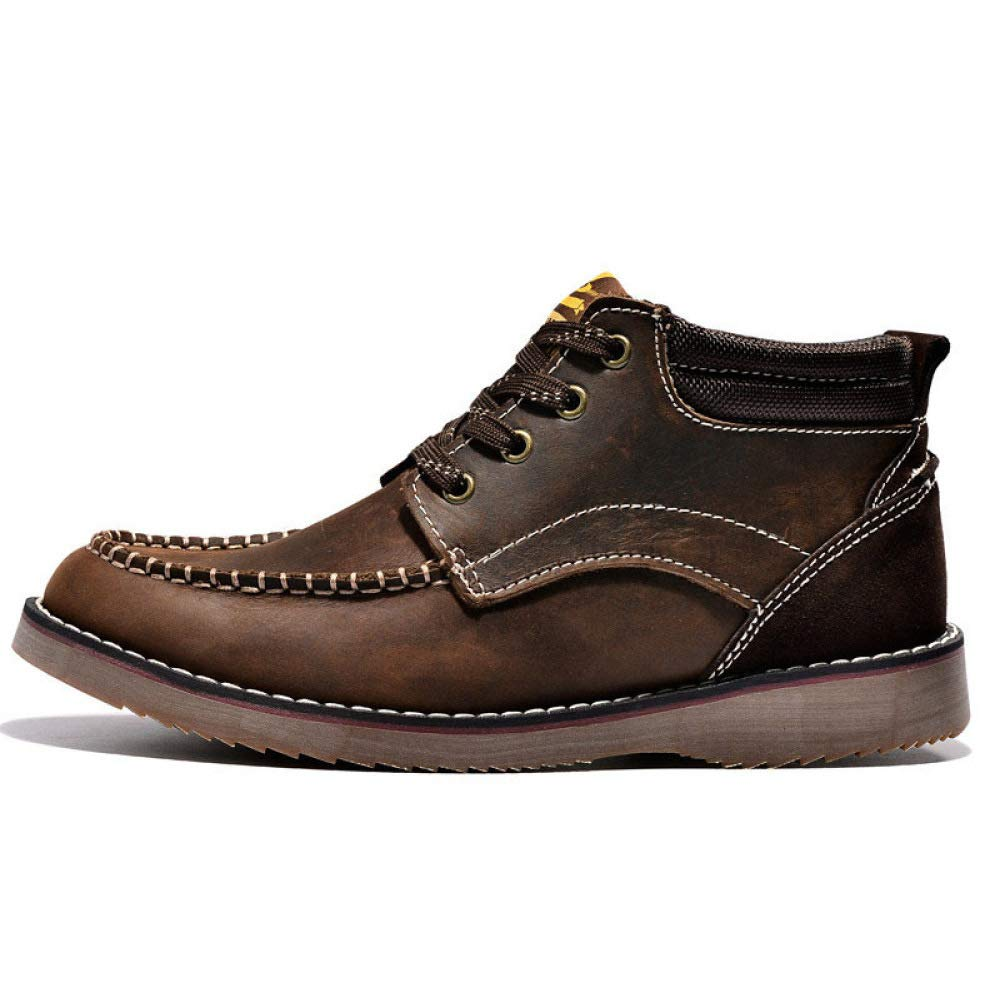WANG-LONG Schuhe Herren Martin Stiefel Outdoor Retro Rutschfeste Atmungsaktiv Lässig Werkzeug Leder Herbst Winter Trend Mode,Dark-braun-40