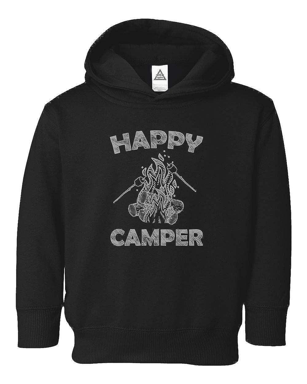 Happy Camper Cool Camping Vintage Funny Retro Design Little Kids Pullover Hoodie Toddler Sweatshirt