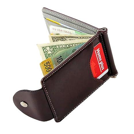 Uomo Sottile Fermasoldi in Pelle Portafogli Sottili Borsa Titolare Della  Carta di Credito ID Portafoglio per 7238dc8d35ef