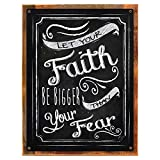 Cheap Wood-Framed Let Your Faith be Bigger Than Your Fear Metal Sign, Motivational Quote, Inspirational Saying on reclaimed, rustic wood