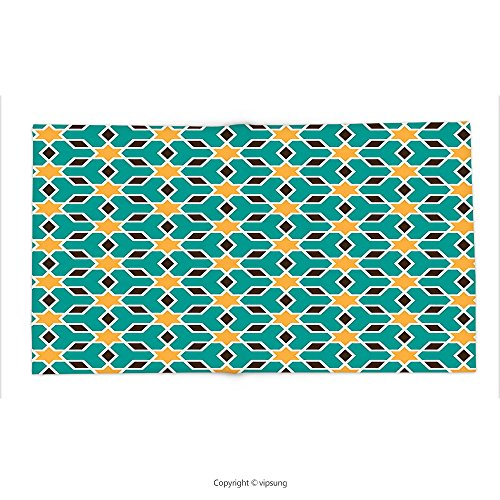 Custom printed Throw Blanket with Arabian Decor Collection Arabic Oriental Geometric Pattern Lines with Pastel Color Middle East Persian Art Teal Yellow Brown Super soft and Cozy Fleece Blanket by vipsung