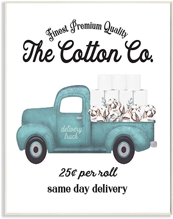 Stupell Industries Toilet Paper Cotton Co Delivery Truck Bathroom Word, Design by Artist Lettered and Lined Wall Art, 10 x 15, Wood Plaque