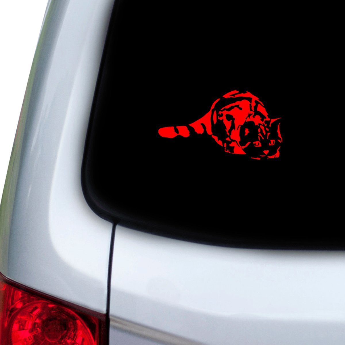 StickAny Car and Auto Decal Series Cat Pounce Sticker for Windows Red Doors Hoods