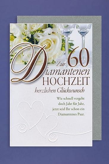 Diamant 60 Hochzeit Grusskarte Foliendruck Blumen Glaser Feier