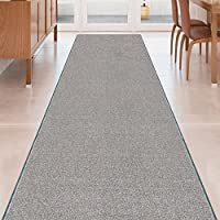 GREY Solid Plain Rubber Backed Non-Slip Hallway Stair Kitchen Runner Rug Carpet 26in X 20ft