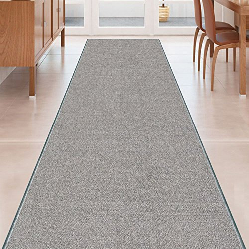 Custom Size GREY Solid Plain Rubber Backed Non-Slip Hallway Stair Runner Rug Carpet 22 inch Wide Choose Your Length 22in X 12ft