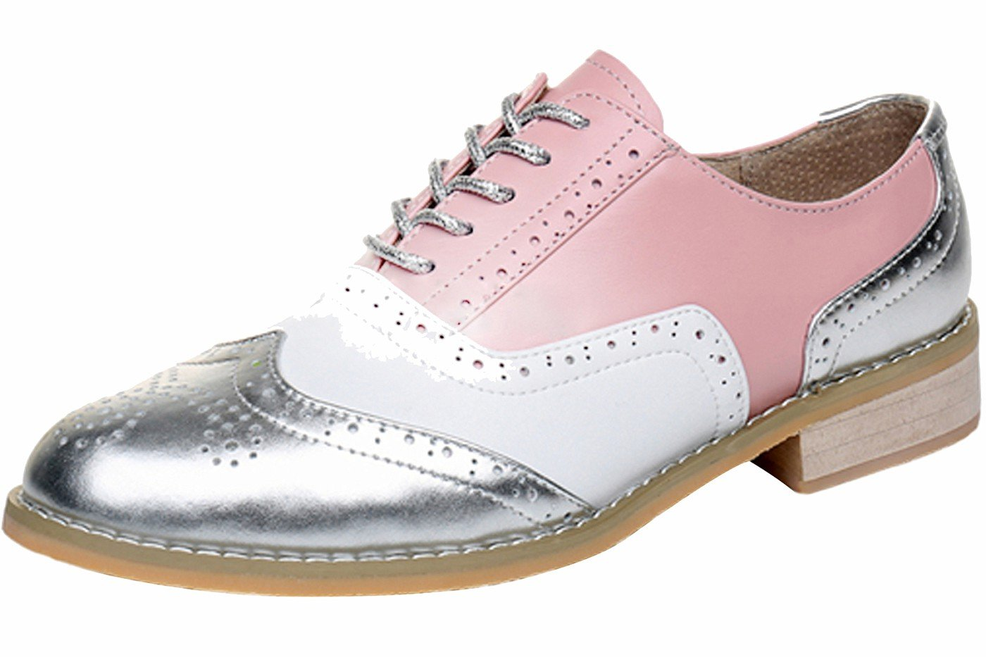 LaRosa Women's Leather Brogues Flat Oxford Shoes (8.5, Pink White Silver)