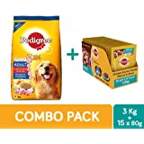 Pedigree Adult Dry Dog Food ,Chicken & Vegetable, 3 kg + Adult Wet Gravy, Chicken and Liver Chunks, 80 g (1.2 kg, 15 Pouches)
