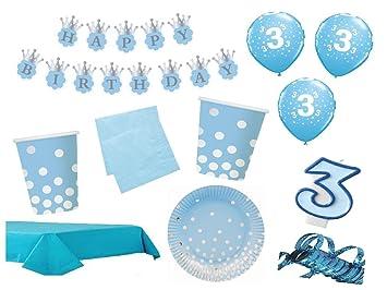 Xxl Party Deko Set 3 Geburtstag Kindergeburtstag 54 Teilig Blau Gold