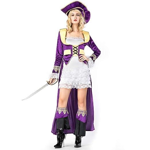 YRE Carnaval púrpura Bata Mujer Adulto Traje de Pirata ...