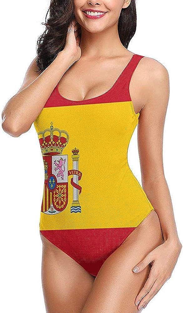 Bandera de España Traje de baño para Mujer Traje de baño de Cintura Alta Traje de baño Sexy de una Pieza M: Amazon.es: Ropa y accesorios
