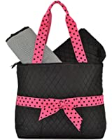 Lar Lar Quilted Solid Large 3pc Diaper Tote Bag