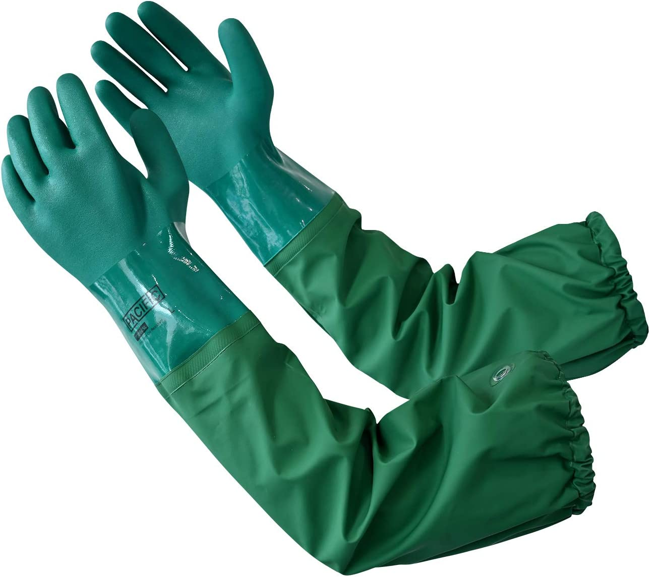 PACIFIC PPE PVC Chemical Resistant Gloves, Safety Work, Reusable, Heavy Duty, Cotton Liner, Acid, Alkali and Oil Protection,Long Sleeve, Elbow Length,26