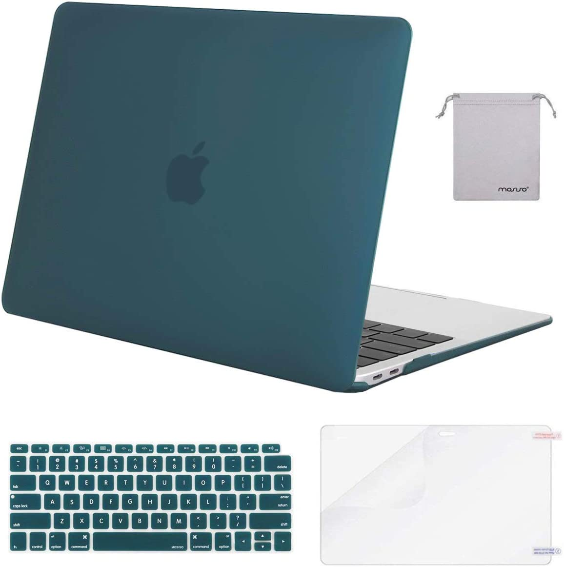 MOSISO MacBook Air 13 inch Case 2020 2019 2018 Release A2179 A1932 with Retina Display Midnight Green Plastic Hard Shell/&Keyboard Cover/&Screen Protector/&Storage Bag Compatible with MacBook Air 13