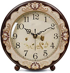 Justup Vintage Table Clock, Retro Non-Ticking European Style Beside Desk Clock Battery Operated Silent Quartz Movement for Bedroom Living Room Indoor Decor (Brown)