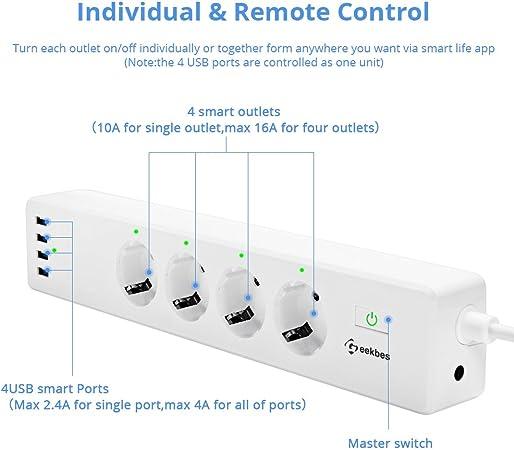 Geekbes Smart Steckdosenleiste,Fernbedienung Wifi Steckerleiste Mehrfachsteckdose mit Überspannungsschutz4 AC Ausgänge4 USB Anschluss Kompatibel