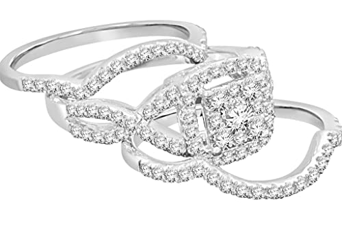 Diamond Ring Set – dos anillos de banda de diamantes y Halo Diamond Cluster Ring,