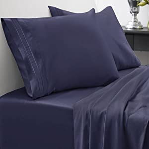 Sweet Home Collection 1500 Series Bed Sheet Set Brushed Microfiber 1500 Bedding - Wrinkle, Fade, Stain Resistant - Hypoallergenic 4 Piece Bed Sheet Set - King, Navy