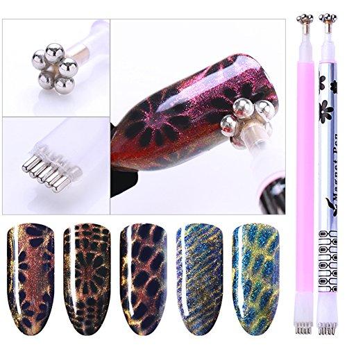 Born Pretty 2 Pcs Nail Art Cat Eye Magnetic Sticks Dual-ended Flower Strip Pattern For UV Gel Manicure Nail Art Tool